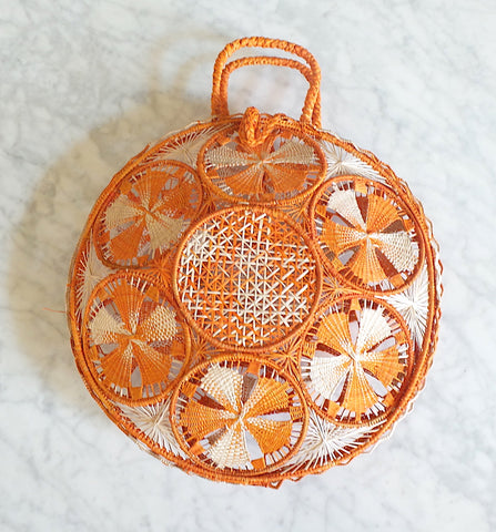 Orange Iraca Palm Straw Handle Bag