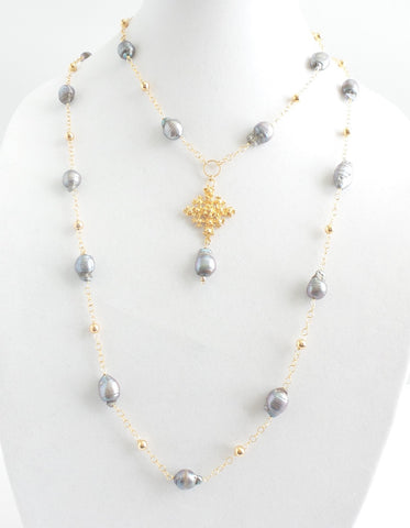 Double Gray Pearls Cross Necklace