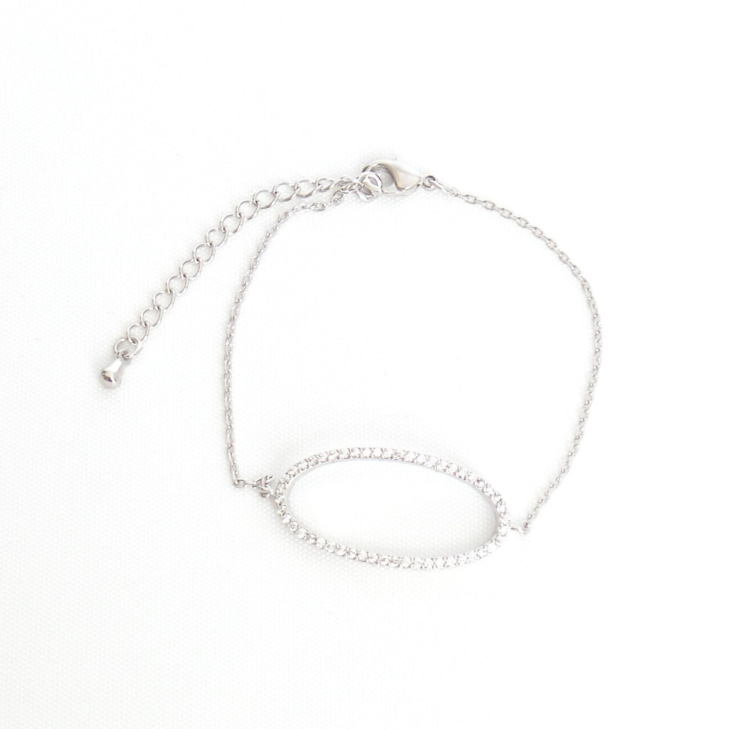Zirconia Oval White Gold Bracelet