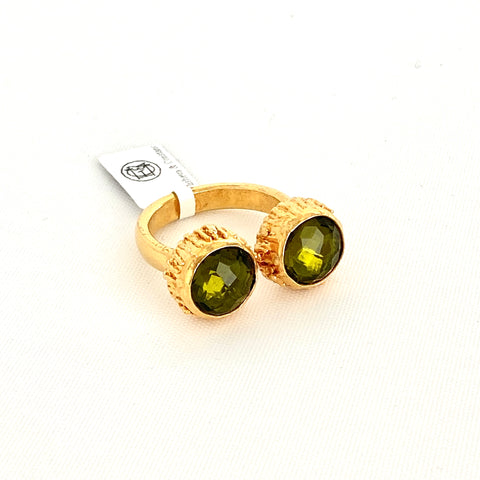 Double Peridot Stone Cuff Ring