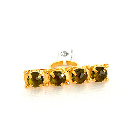 Four Peridot Stones Linear Ring