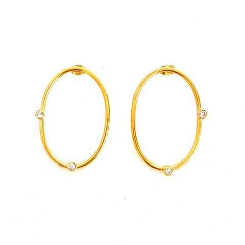 Oval with Crystals Earrings