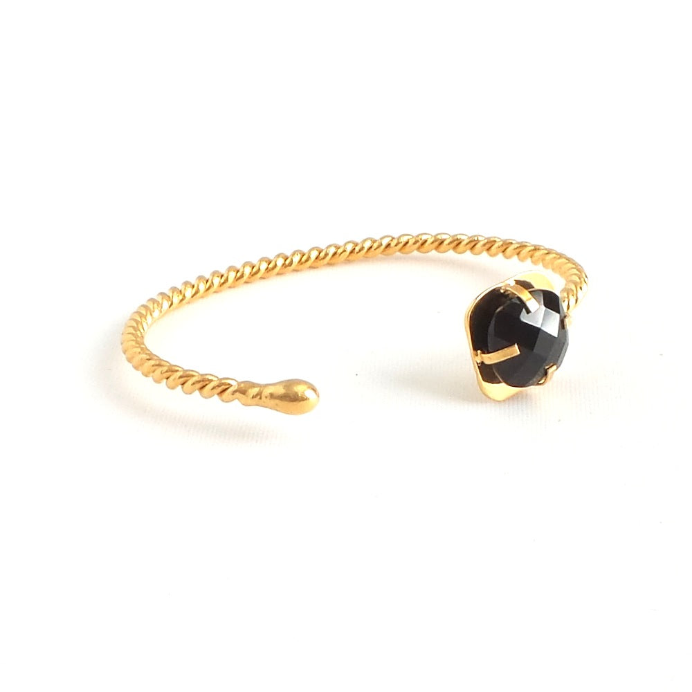 Black Quartz Twined Cuff Bracelet