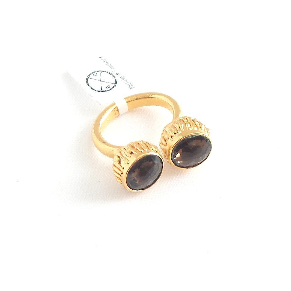 Double Smoked Quartz Cuff Ring
