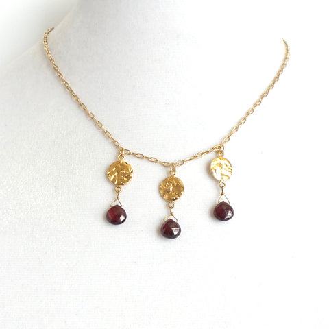 Three Golden Flakes and Ruby Necklace