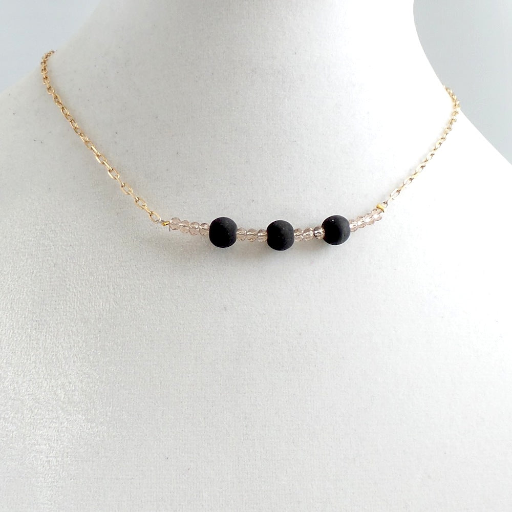 Triple Black Stone Necklace