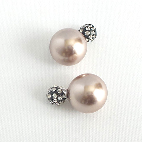 360 Champagne Pearl and Pave Crystals Earrings