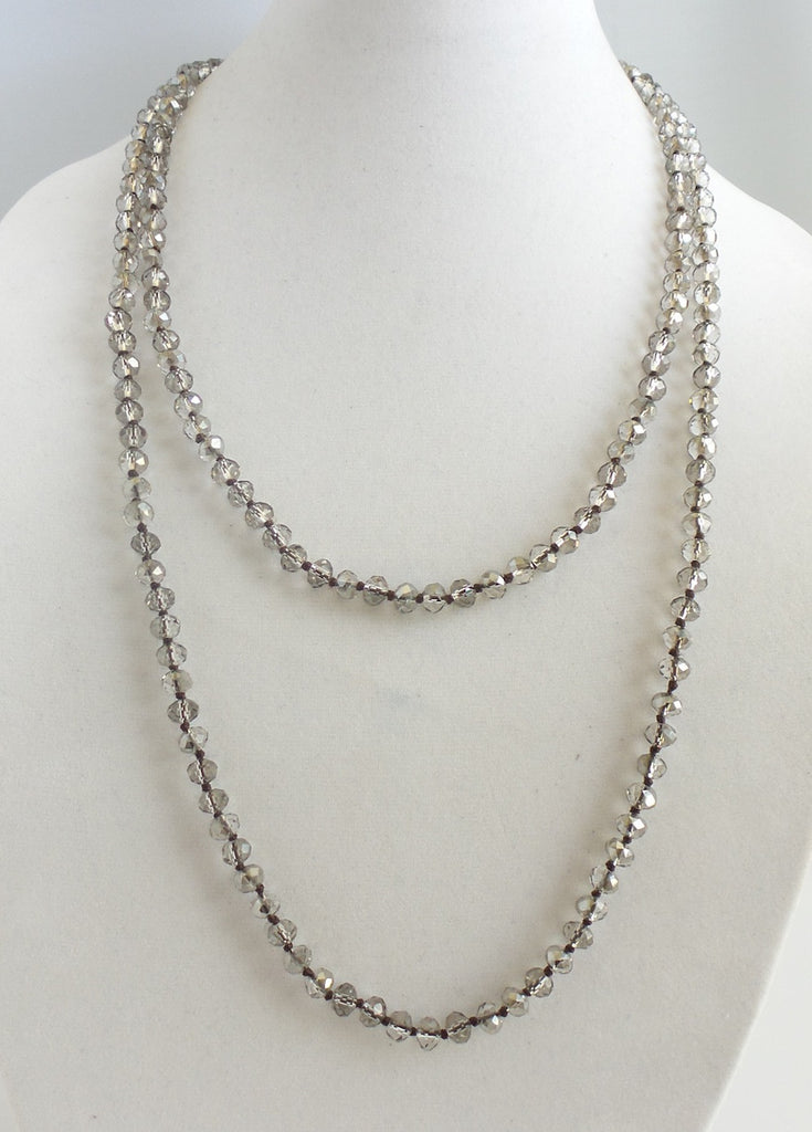 Gray Crystal Long Necklace