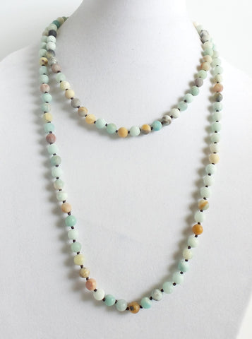 Frosted Amazonite Long Necklace