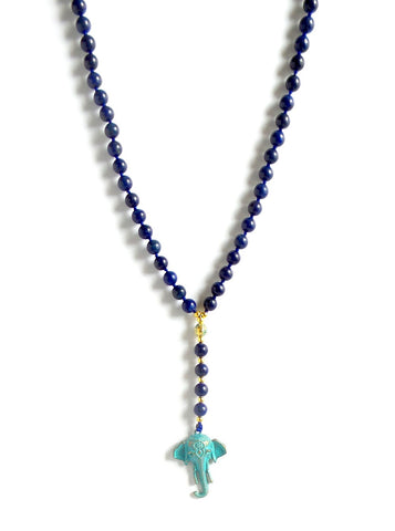 Lapis Lazuli Long Necklace with Elephant