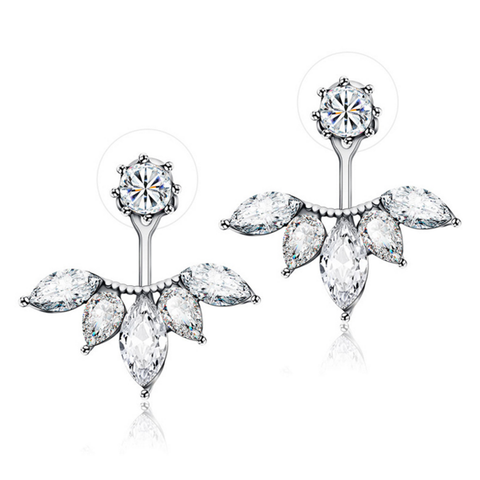 Silver Flower Ear Jackets
