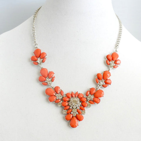 Statement Orange Floral Statement Necklace