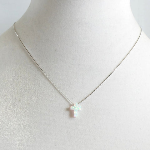 Opal Cross Pendant Necklace