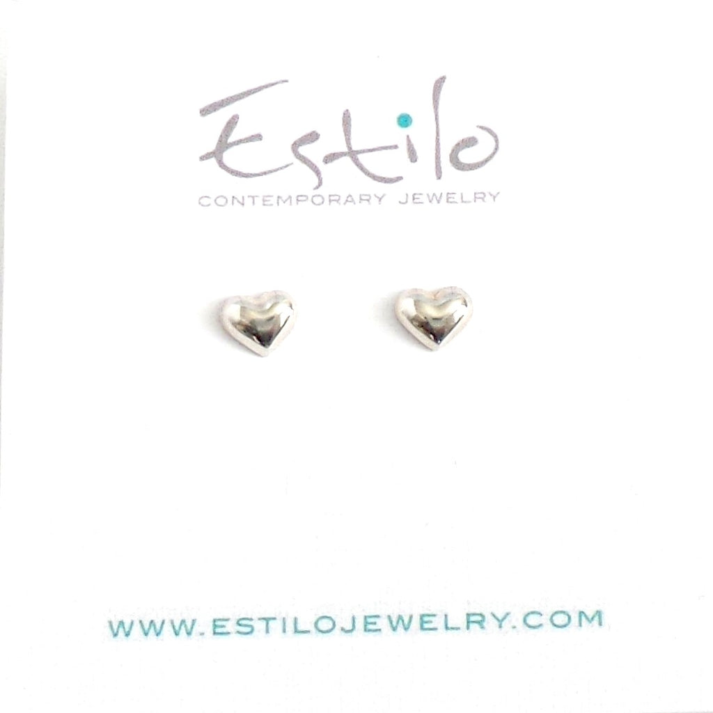 Heart Silver Stud Earrings - Estilo Concept Store