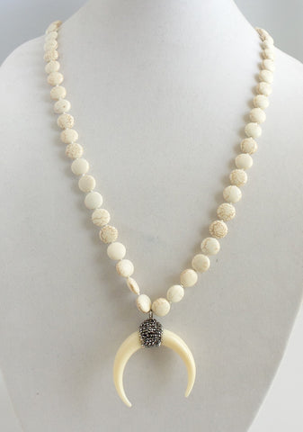 White Crescent Pave Necklace