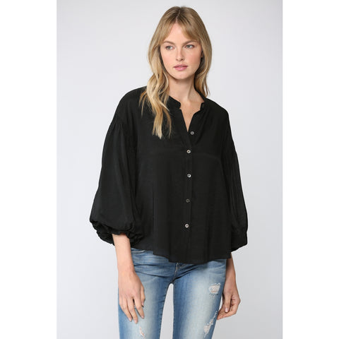 Black Puff Sleeve Button Down Shirt
