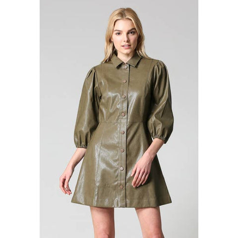 Button Down Olive Dress - Estilo Concept Store