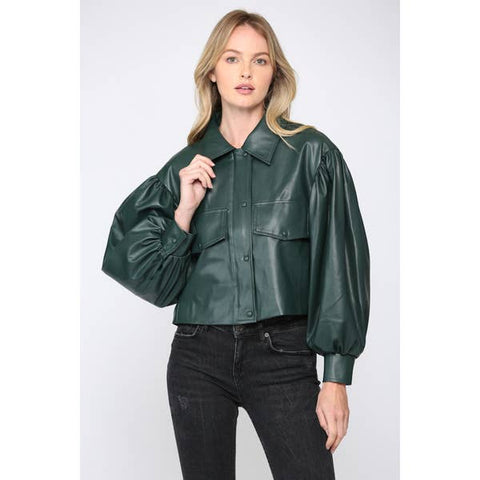 Hunter Green Crop Jacket - Estilo Concept Store