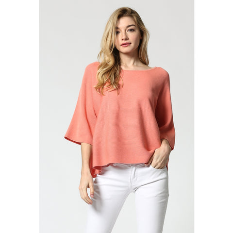 Salmon Cropped Knit Top