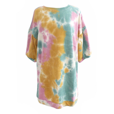 Tie-Dye Wide Sleeve French Terry Dress - Estilo Concept Store