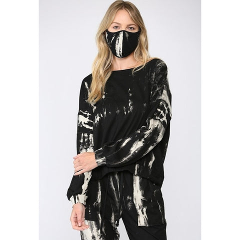 Tie Dye Pullover Sweatshirt with matching Mask