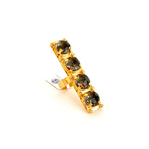Four Smoked Quartz Stones Vertical Ring