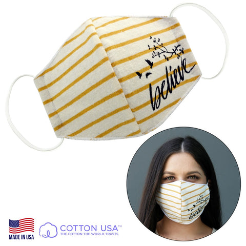 Believe Yellow Striped Face Mask