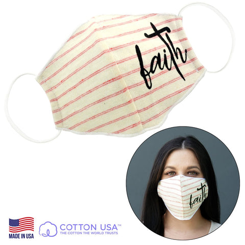 Faith Pink Striped Face Mask