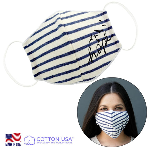 Hope Navy Striped Face Mask