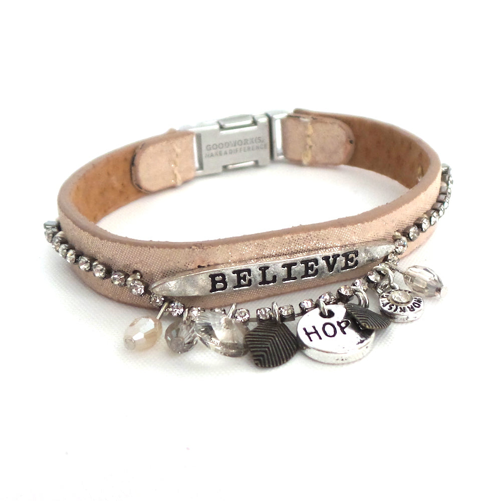Believe Crystal Single Magnetic Bracelet *click for more colors