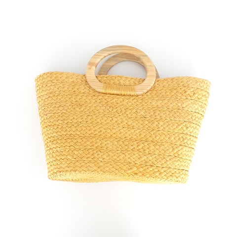 Handwoven French Basket Blonde Handbag