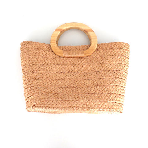 Handwoven French Basket Tan Handbag