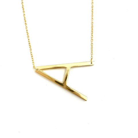 Gold Large Sideways Initial Necklace