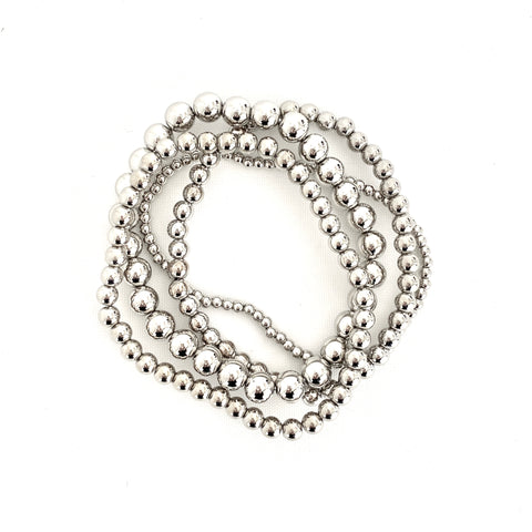 Silver Beaded Stack Stretch Bracelets