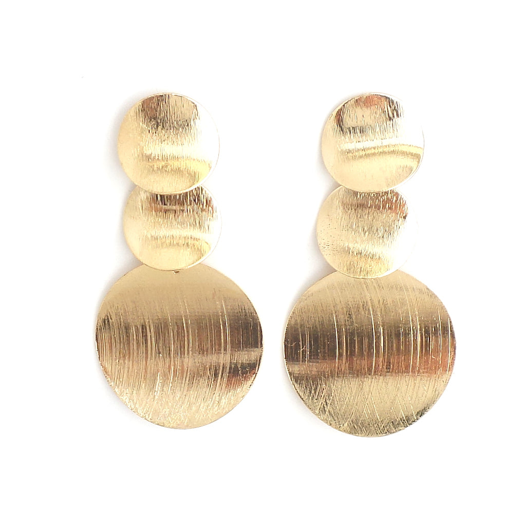 Evelina Brushed Curved Discs Gold Earrings - Estilo Concept Store