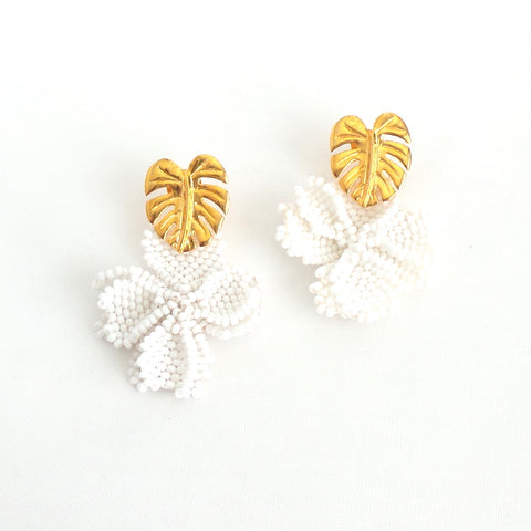 White Single Graden Earrings