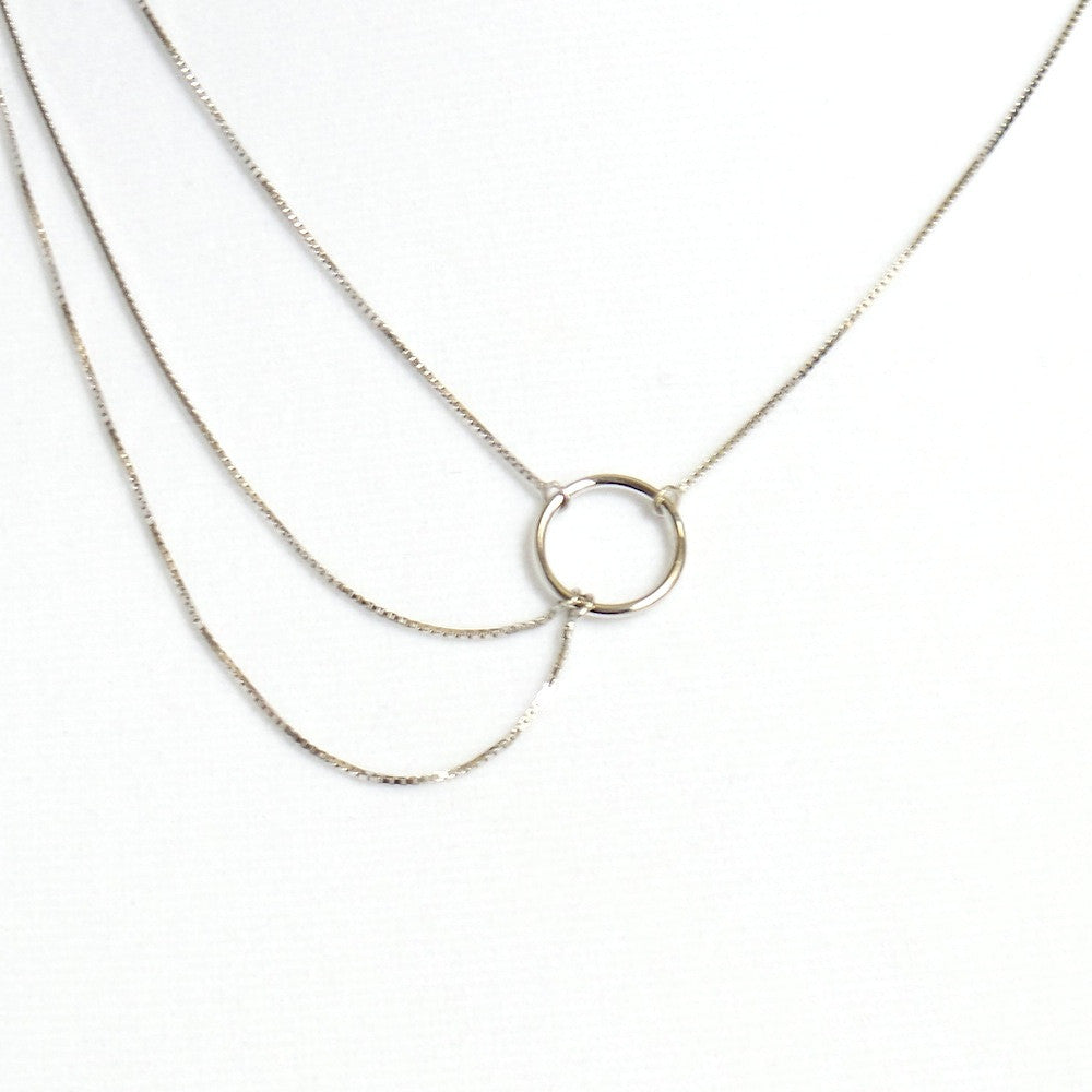 Karma Sterling Silver Triple Strand Necklace