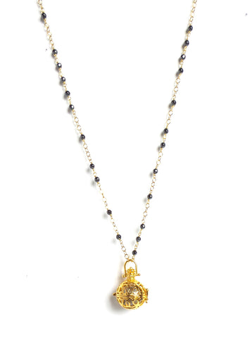 Long Faceted Pyrite Gold Sphere Angel Caller Pendant Necklace