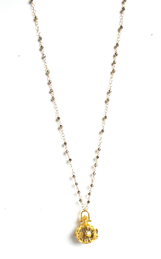 Long Pyrite Mini Nuggets Gold Sphere Angel Caller Pendant Necklace