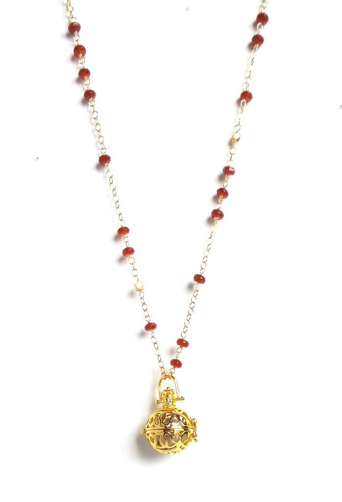 Long Red Stones Gold Sphere Angel Caller Pendant Necklace - Estilo Concept Store