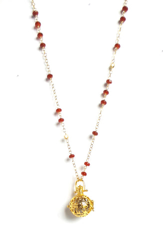 Long Red Stones Gold Sphere Angel Caller Pendant Necklace