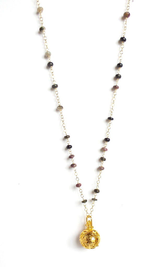 Long Rose and Black Stones Gold Sphere Angel Caller Pendant Necklace - Estilo Concept Store
