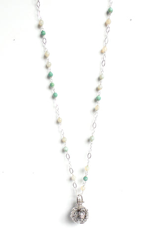 Long Amazonite Silver Sphere Angel Caller Pendant Necklace