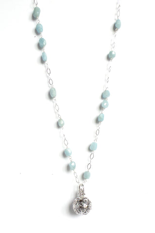 Long Aquamarine Silver Sphere Angel Caller Pendant Necklace