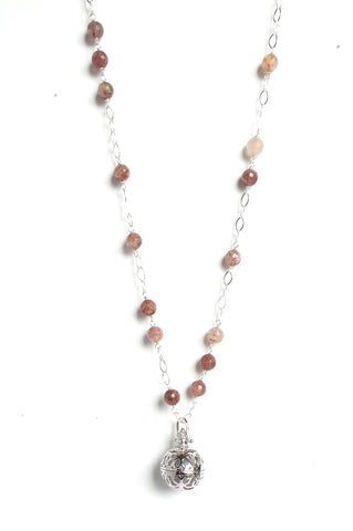 Long Rhodonite Silver Sphere Angel Caller Pendant Necklace