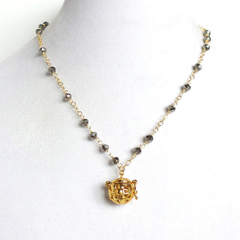 Short Faceted Pyrite Gold Angel Caller Pendant Necklace