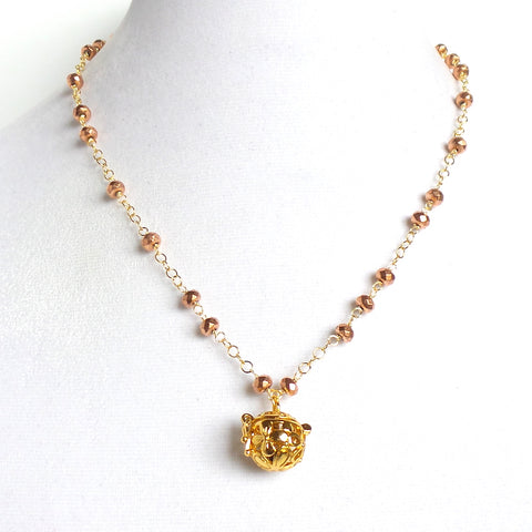 Short Rose Czech Glass Gold Angel Caller Pendant Necklace