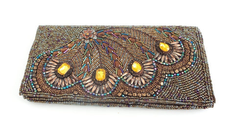 Peacock Beaded Clutch