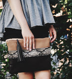 Taupe Snakeskin Hand-Strap Clutch