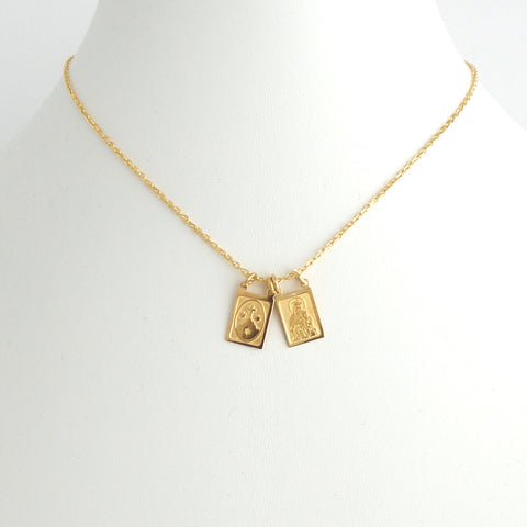 Gold Scapulary Necklace - Estilo Concept Store